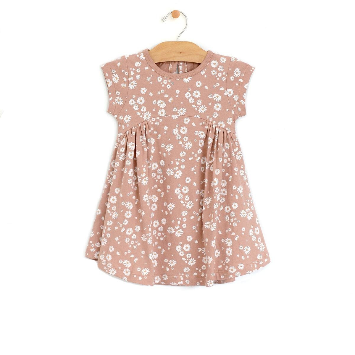 City Mouse Jersey Side Gather Dress Daisies