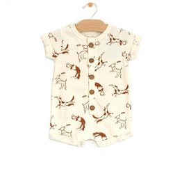 City Mouse Jersey Short Button Romper Dogs
