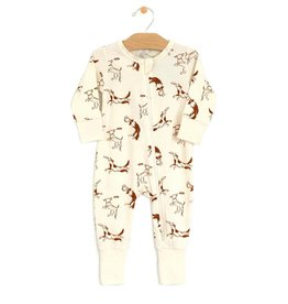 City Mouse Jersey Zip Romper Dogs