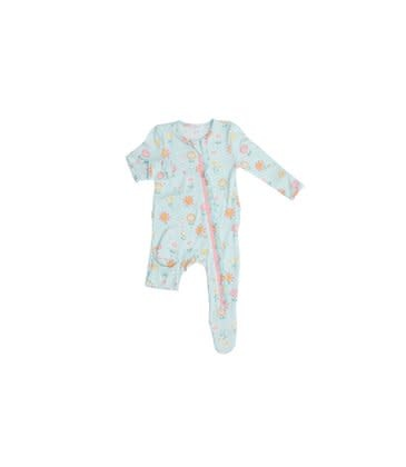 Angel Dear Hello Daisy Ruffle  Front Zipper Footie Blue