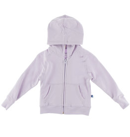Kickee Pants Solid Fleece Zip Front Hoodie with Lined Hood Thistle with Thistle Chamomile