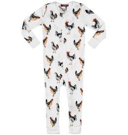 Milkbarn Kids Organic Zipper Pajama, Chicken