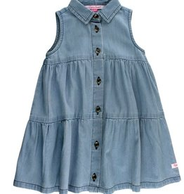 RuffleButts Light Wash Denim Tiered Dress