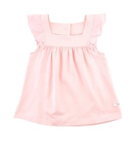 RuffleButts Pink Flutter Square Neck Top