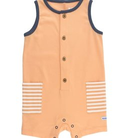 RuggedButts Melon Striped Pocket Romper