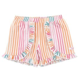 RuffleButts Dreamsicle Stripe Ruffle Shorts