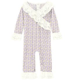 Kickee Pants Print Long Sleeve Kimono Double Ruffle Romper Thistle Chamomile