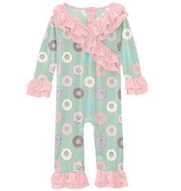 Kickee Pants Print Long Sleeve Kimono Double Ruffle Romper Pistachio Donuts