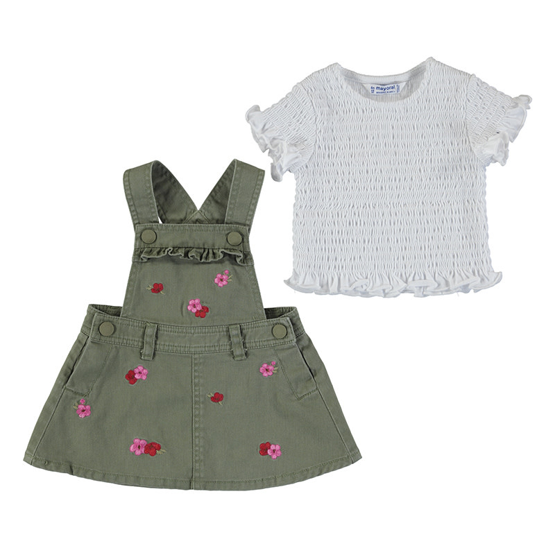 Mayoral Baby Girl Embroided Skirt Overall + Top