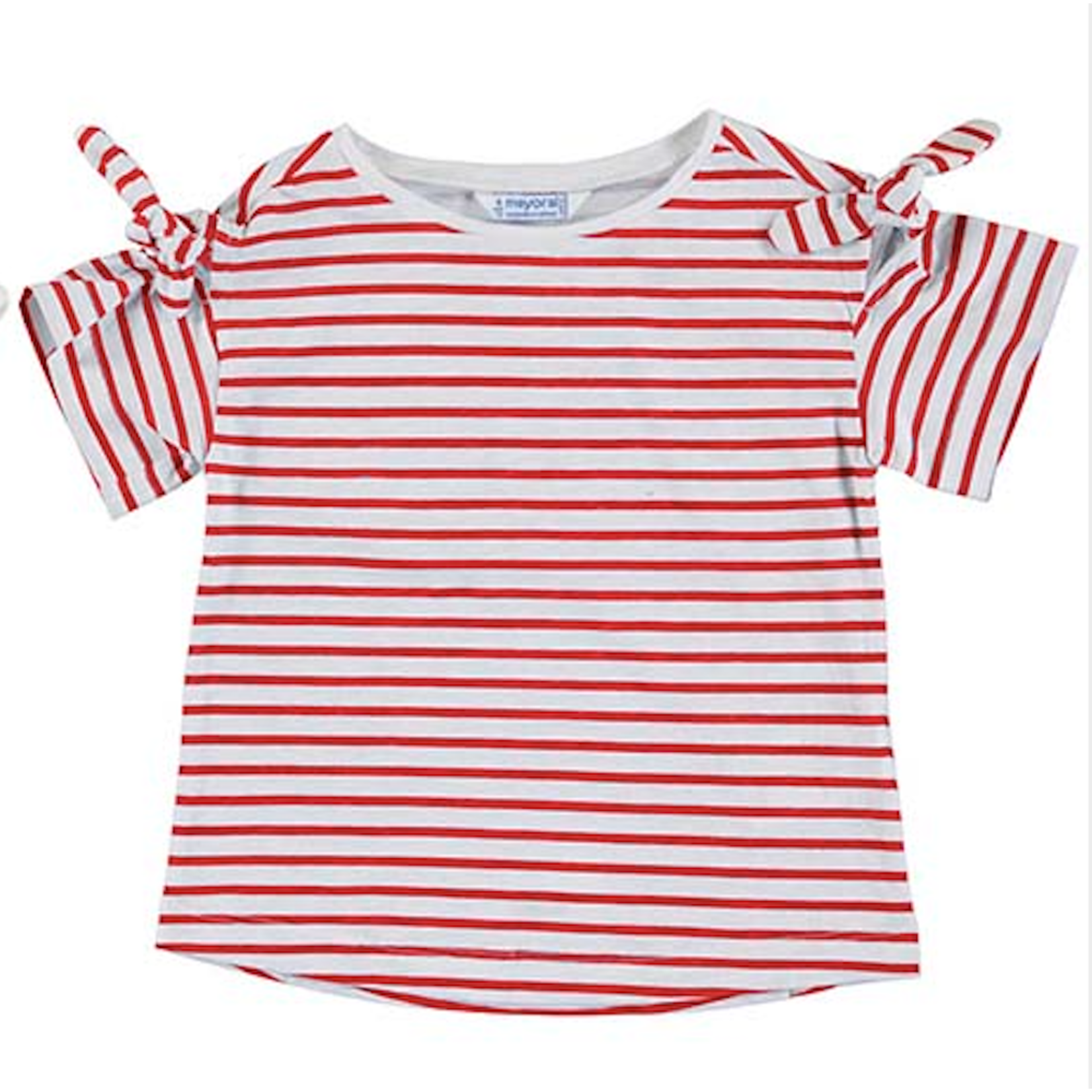 Mayoral Girls Short Sleeved Poppy Stripe Tee