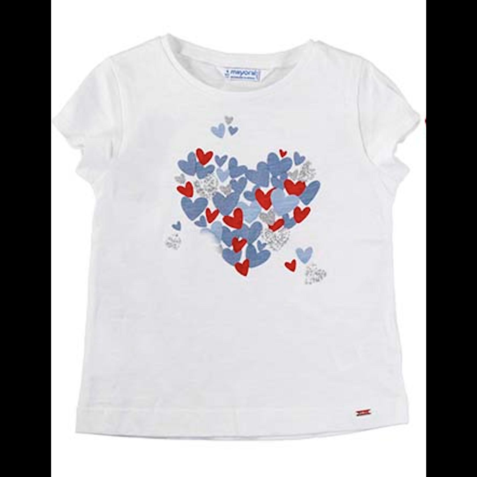 Mayoral Girls Short Sleeved Hearts Tee