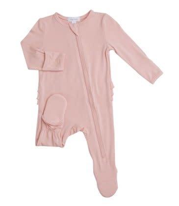 Angel Dear Modern Basics Zipper Footie Dust Pale Pink