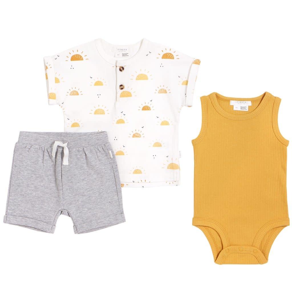 Petit Lem Baby 3 Piece Set - Sunshine, Gold, Gray