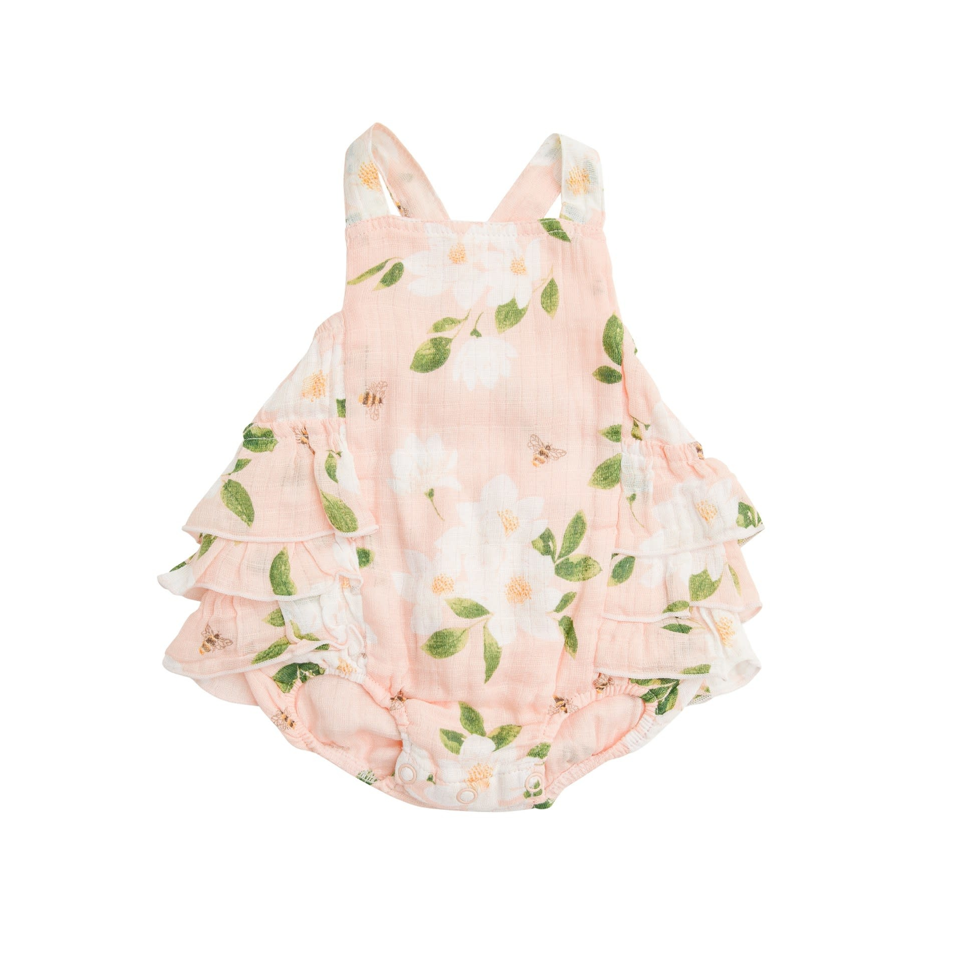 Angel Dear Magnolia Muslin Ruffle Sunsuit Pink