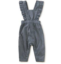 Tea Collection Railroad Stripe Ruffle Romper - Dark Garment Wash