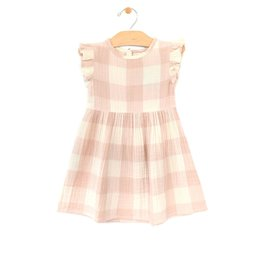 City Mouse Woven Frill Sleeve Dress - Peach Check