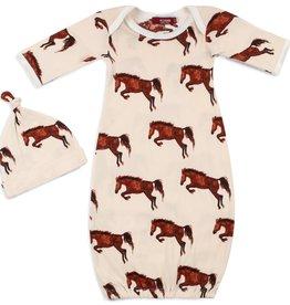 Milkbarn Kids Organic NB Gown & Hat Set Natural Horse 0-3M
