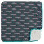 Kickee Pants Print Sherpa-Lined Toddler Blanket in Stone Rainbow Trout