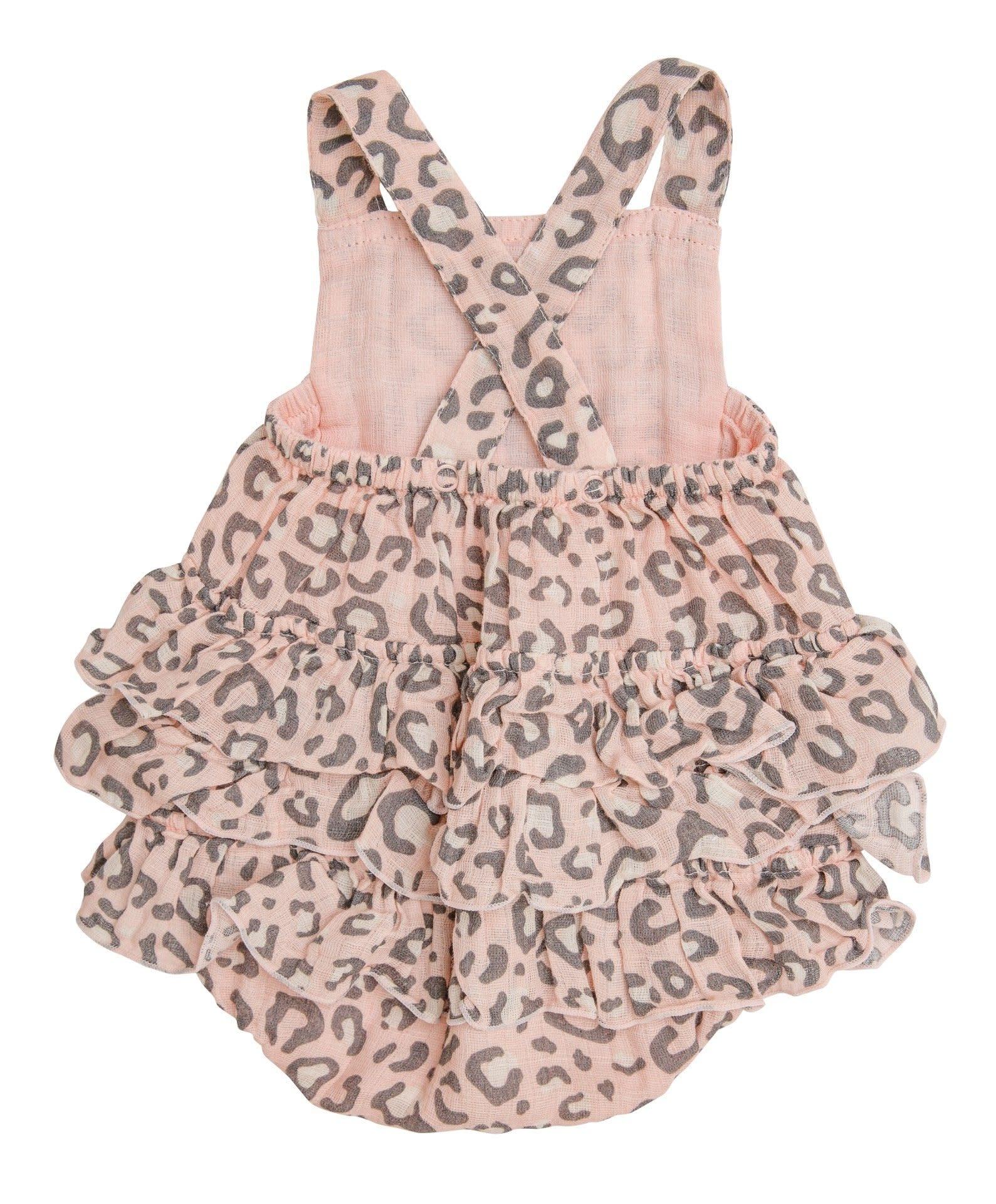 Angel Dear Leopard  Ruffle Sunsuit Pink + Sunhat