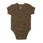 Loved Baby Organic Short-Sleeve Kimono Bodysuit, Print in Don't Bug Me! (Bark)