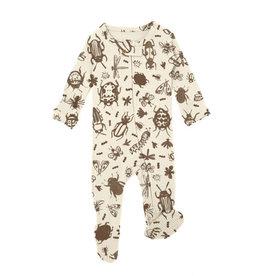 Loved Baby Organic Zipper Footie, Print in Don't Bug Me! (Beige)