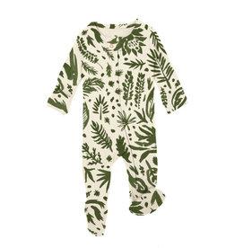 Loved Baby Organic Zipper Footie, Print in Get Clover It! (Beige)