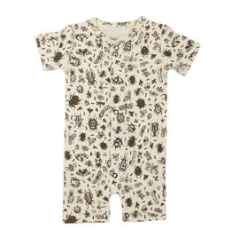 Loved Baby Printed S/Sleeve Romper in Don't Bug Me! (Beige)