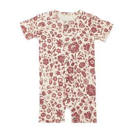 Loved Baby Printed S/Sleeve Romper in What In Carnation? (Beige)