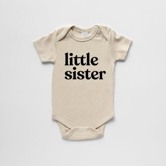 Gladfolk Little Sister Baby Bodysuit Long Sleeve - Cream