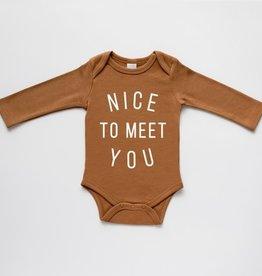 Gladfolk Nice To Meet You Baby Bodysuit - Camel 0-3M