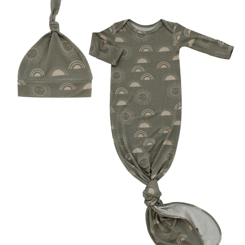 Emerson and Friends Celestial Sun Bamboo Baby Gown and Hat