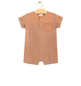 City Mouse Jersey & Muslin Short Pocket Romper