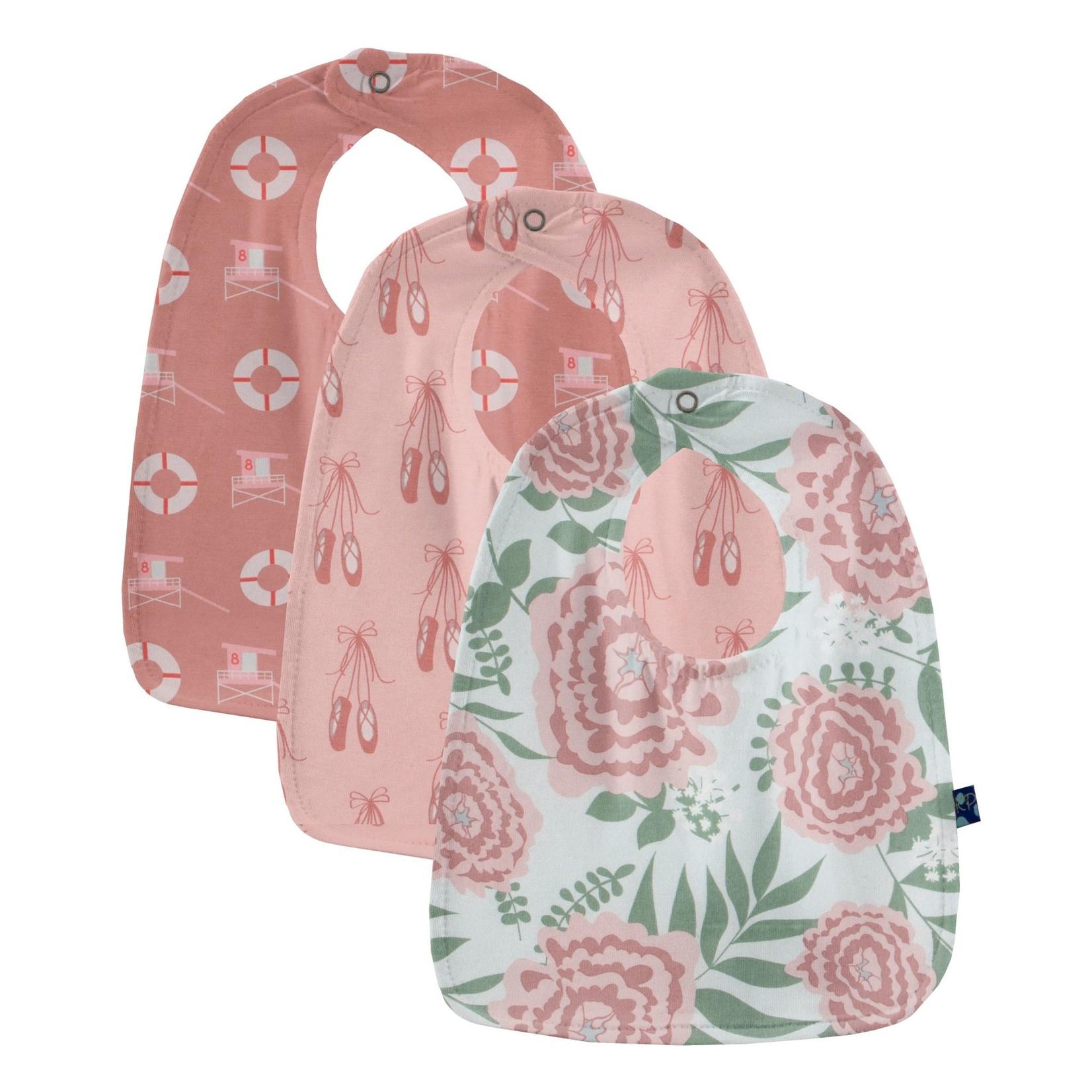 Kickee Pants Burp Cloth Set Baby Rose Ballet & Antique Pink