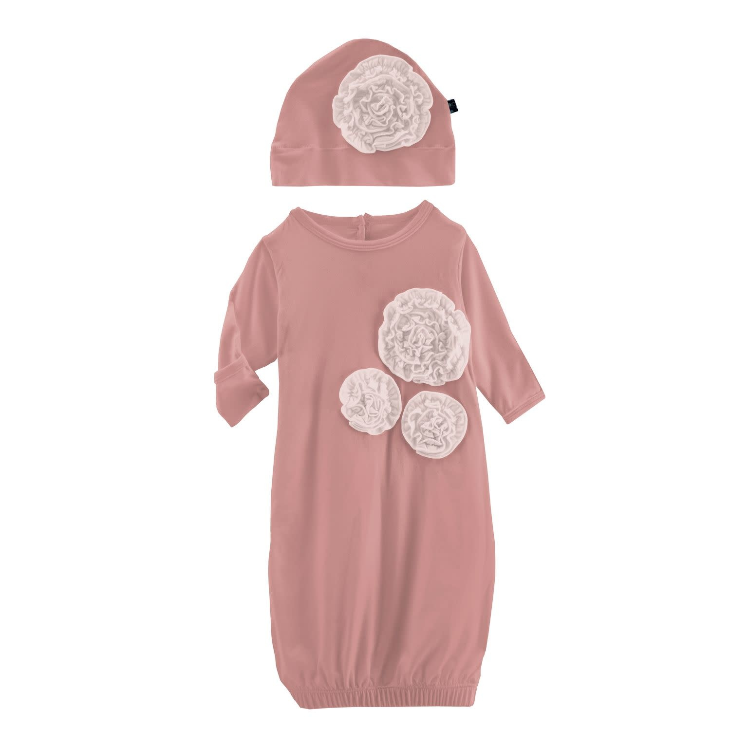 Kickee Pants Dahlia Flower Layette Gown & Flower Hat Set Antique Pink with Baby Rose - 0-3 Months
