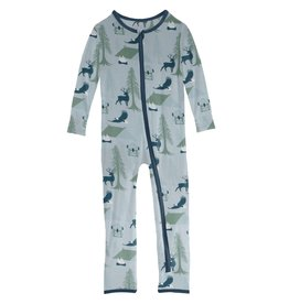 Kickee Pants Print Coverall with Zipper Pearl Blue Wilderness Guide