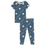 Kickee Pants Print Short Sleeve Pajama Set Deep Sea Baseball