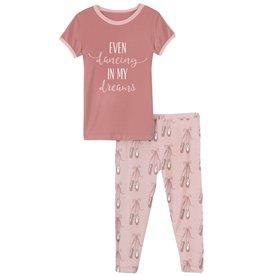 Kickee Pants Short Sleeve Graphic Tee Pajama Set Baby Rose Ballet