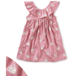 Tea Collection Ruffle Neck Baby Dress - Swan and Flower