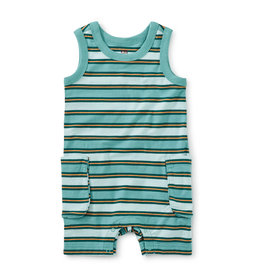Tea Collection Cargo Pocket Tank Baby Romper - Patina