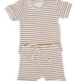 Mebie Baby Striped Ribbed Two-piece Short Set - Honey