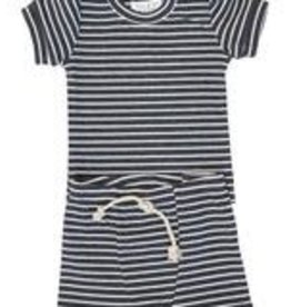 Mebie Baby Striped Ribbed Two-piece Short Set - Charcoal