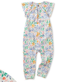 Tea Collection Flutter Sleeve Baby Romper - Azores Island Liberty - Chalk