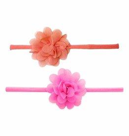 Baby Bling Bows 2pk Mini Chiffon Flower: Hot Pink & Coral