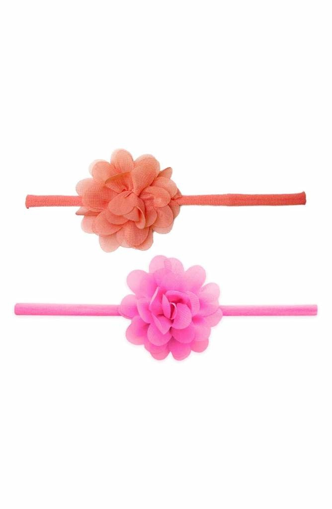 Baby Bling Bows 2pk Mini Chiffon Flower: Hot Pink & Coral