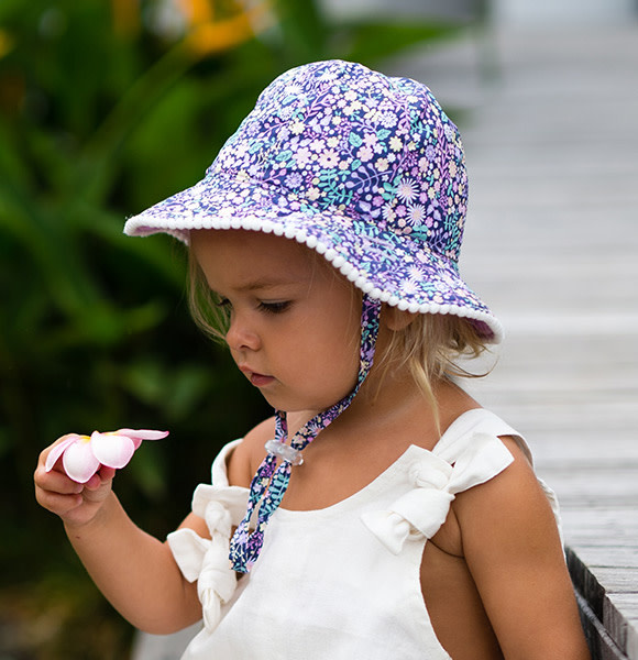 Millymook and Dozer Baby Girls Floppy Sun Hat - Tilly Navy