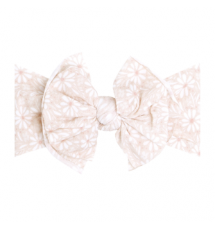 Baby Bling Bows Printed Fab : White Daisy
