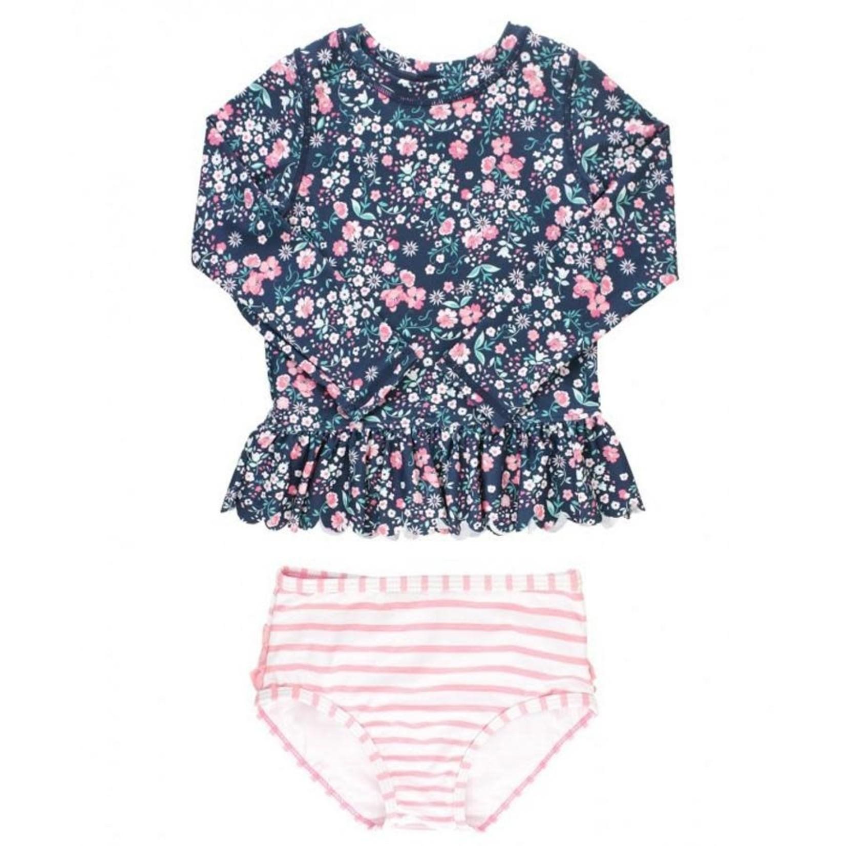 RuffleButts Moonlit Meadow Peplum Rash Guard Bikini