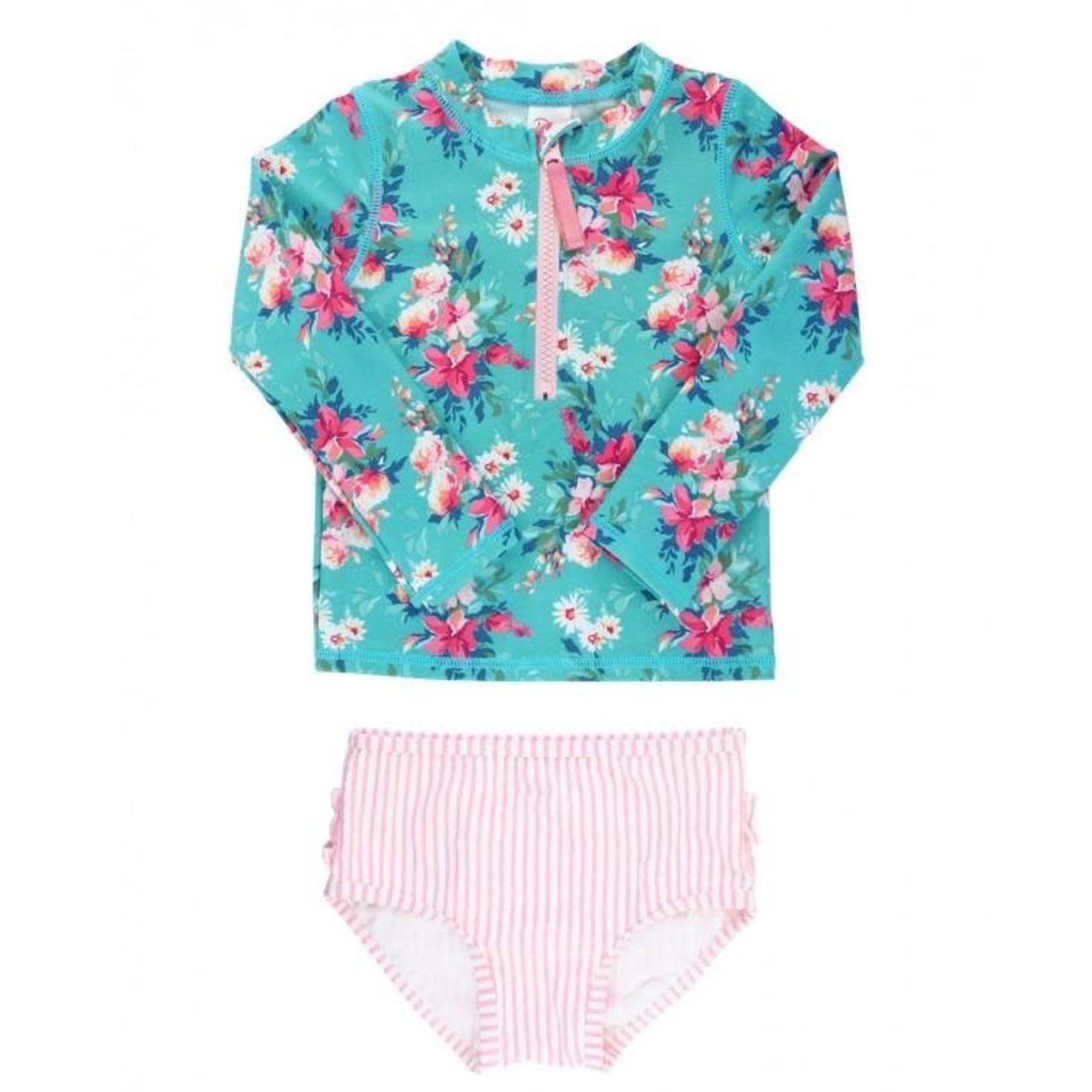 RuffleButts Fancy Me Floral Rash Guard Bikini