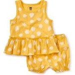 Tea Collection Tank Ruffle Baby Set - Ink Polka Dots in Del Sol