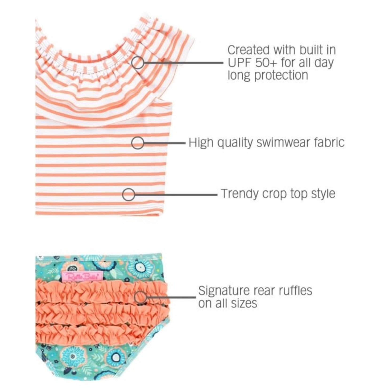 RuffleButts Island Dream Coral Stripe Ruffled Tankini (6m-7)